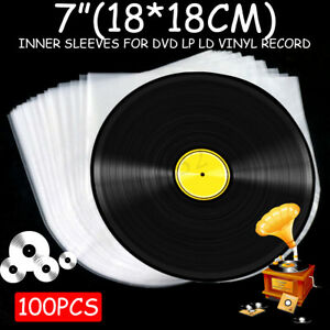 100Pcs-7-039-039-Plastic-LP-LD-Music-Vinyl-Record-Antistatic-Clear-Cover-Inner-Sleeves