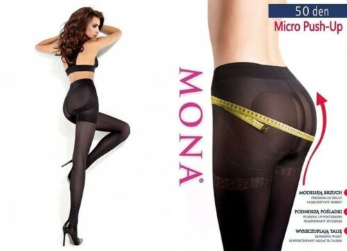 S - XL Mona MICRO PUSH-UP TIGHTS 50 DEN Slimming Waist Pressing of Belly