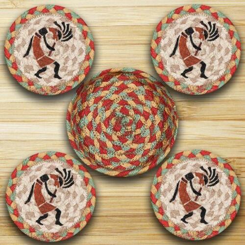 KOKOPELLI 100/% Natural Braided Jute Coaster Set of 4 w// Basket
