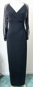 KAY-UNGER-2-Evening-Gown-BEADED-Navy-Blue-Silk-Illusion-Sleeves-Formal-Dress