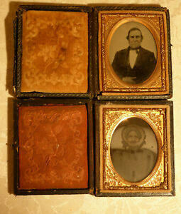 Antique Folding Leather Photo Frames Ambrotype Portraits Lady Bonnet Gentleman Ebay