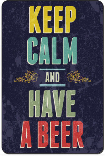 *WARNING KEEP CALM & HAVE A BEER * MADE IN USA!  METAL SIGN 8X12 MAN CAVE BAR