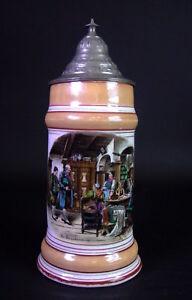 alter Porzellan Bierkrug mit Bodenbild - Die Brautwerbung  19. Jhd