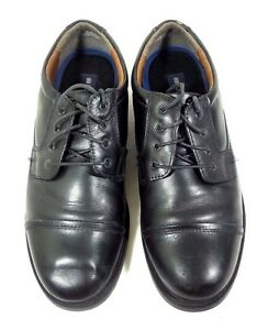 PURITAN MENS OXFORD CAP TOE BLACK LEATHER DRESS SHOES SIZE 10 M
