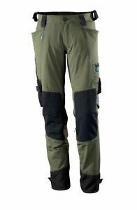 Mascotte 46 Taille X 36 Jambe Mesurée Vert Stretch Travail Pantalon Genou Pad Poches-afficher Le Titre D'origine