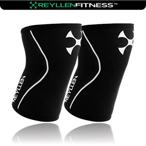 PAIR Knee Sleeves 7mm BLACK for crossfit strongman power lifting weight lifting