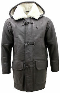 Men's Long Winter Brown Hooded White Shearling Sheepskin Leather ...
