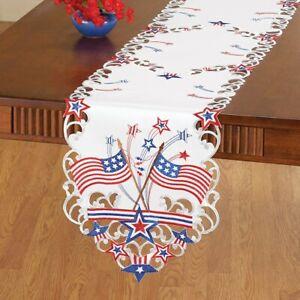 Americana-USA-Drapeau-4th-de-Juillet-Brode-Polyester-Table-Chemin