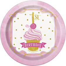 1st BIRTHDAY Pink and Gold SMALL PAPER PLATES (8) ~ First Party Supplies Cake