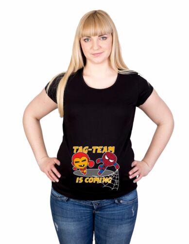 Maternity S-XXL Iron Man Spiderman team twins Print Baby Gift Cotton Top T-Shirt