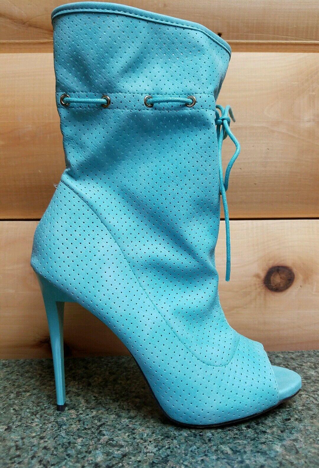 Mona Mia Alectrona Toe Open Toe Alectrona Perforated Drawstring Mid Calf Boot 10 Powder Mint a8f1f8