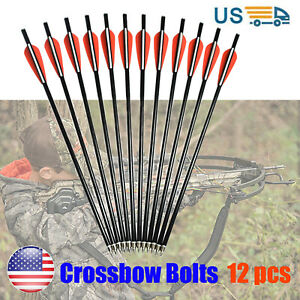 "18/"" Fiberglass Crossbow Bolts for Archery Bow Hunting Aluminum Flat Nock 6//12pcs"