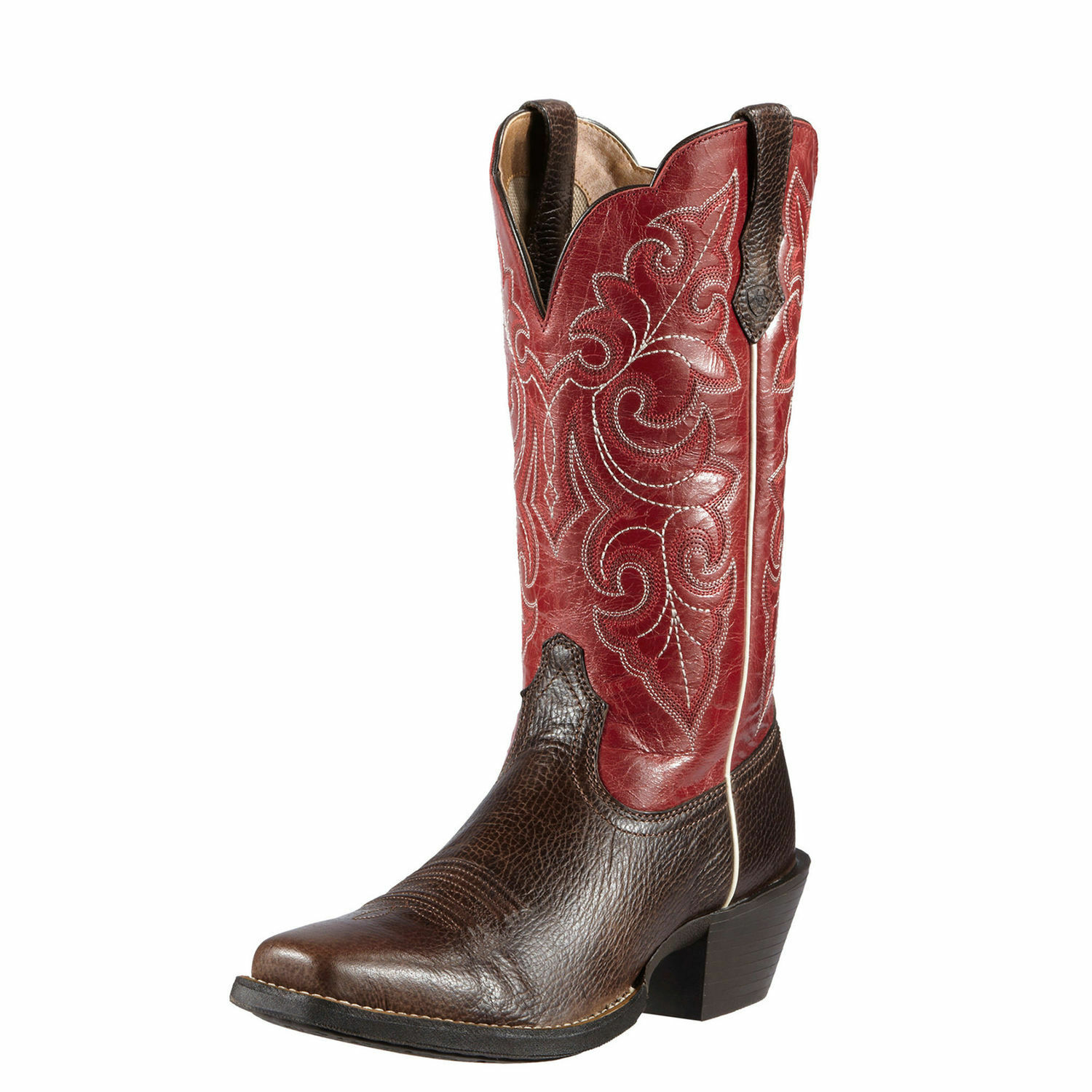 ARIAT Women's Round Up Brown Red Square Toe Western Boot 10011890 NIB