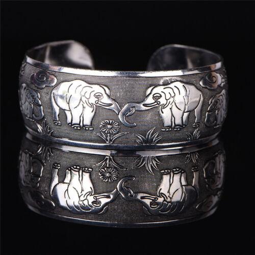 Tibetanisches Silber überzogene Elefant Tibet Totem Armreif Schmuck ManschettDBS