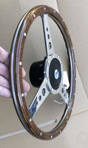 """Triumph Spitfire GT6 TR6 Traditional Polished Alloy Wood 14/"""" Steering Wheel"""