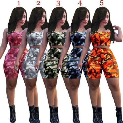 Women Crop TOP strap+high wait shorts camouflage printed one set S-3XL A7001