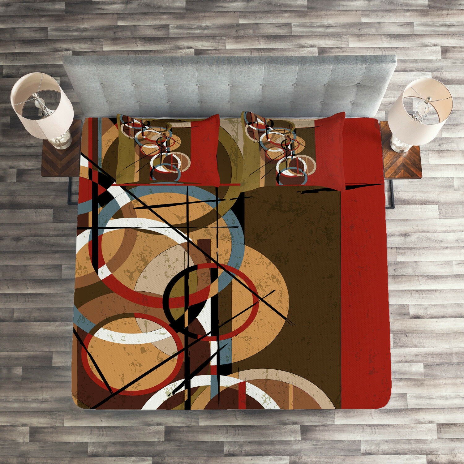Red Quilted Coverlet & Pillow Shams Set, Retro Grunge Surreal Art Print