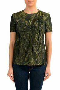Maison-Margiela-1-Women-039-s-Green-Short-Sleeve-Blouse-Top-US-S-IT-40