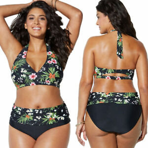 d12004a590 Grande Taille Femme Maillots de Bain Fleuri 2 Pièces Bikini Taille ...
