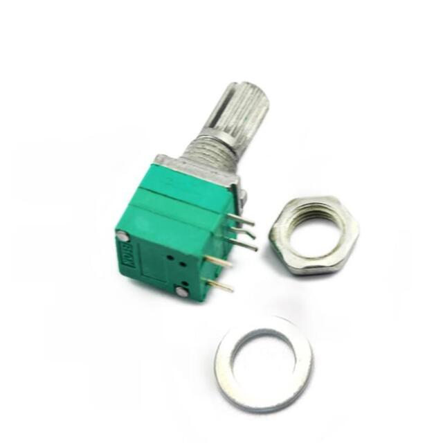 2pcs B10K Audio Amplifier Sealed Potentiometer 15mm Shaft 5-Pin with Switch