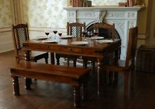 ELEGANT HAND MADE  WOODEN JALI DINING TABLE WITH 4 CHAIRS AND 1 BANCH