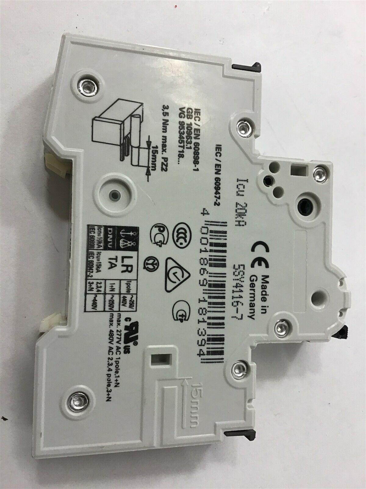 1 Circuit Breaker Siemens 5SSN1 B16A 1 pin used