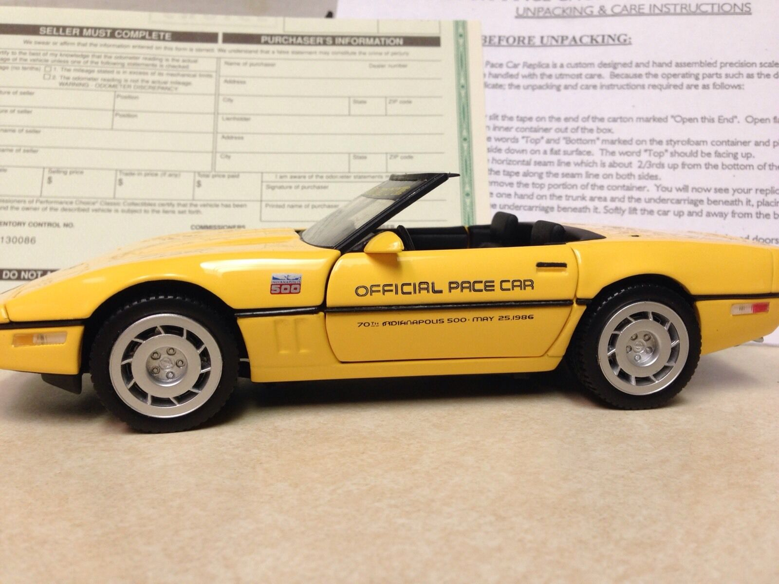 Franklin mint Corvette Convertible Amarillo 2018 Mid America Indy Pace Car