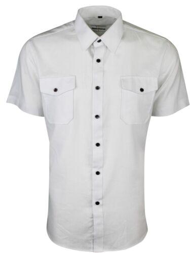 £ 15.99 Da Uomo Biancheria Doppia Tasca Estate Camicia Casual Riduzione 428