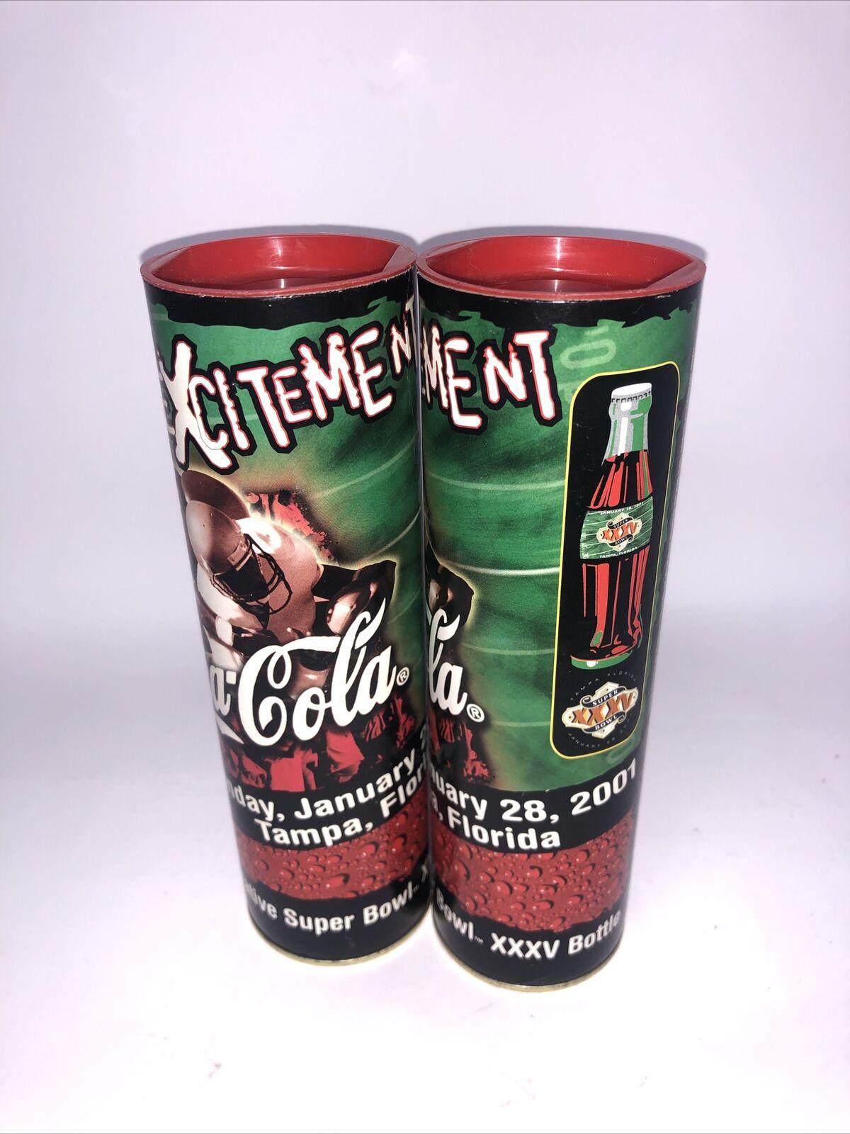 Coca-Cola Commemorative Super Bowl XXXVI Bottle in Tube with Pin
