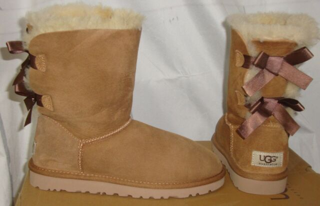 879bed553e9 UGG Australia BAILEY BOW Chestnut Suede Boots Women's Size US 5 NEW #1002954