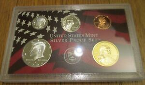2006-S-U-S-Mint-5-Pc-Silver-Proof-Set-Partial-No-Box-Coa-90-Kennedy-Dime