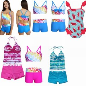 6913f4c84e1 Image is loading Girls-Kids-Tankini-Set-Swimwear-Bikini-Skirt-Swimsuit-