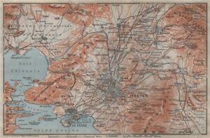 ATHENS ENVIRONS Piraeus Aspropyrgos Acharnes Greece BAEDEKER 1911
