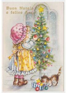 Immagini Cartoline Natale Vintage.Cartolina Augurale Vintage Anni 80 Bambina Gatto Decorazioni Albero Di Natale Ebay