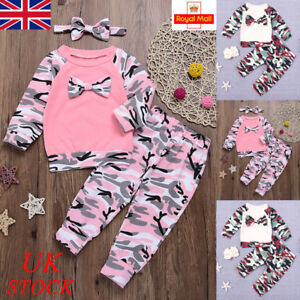 071fc915f92c Image is loading Baby-Girls-Camouflage-Camo-Outfits-Set-Newborn-Toddler-
