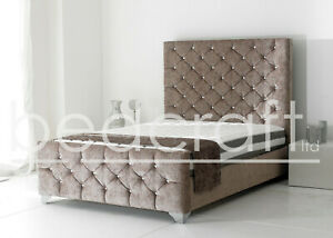 big sale 799b7 f1cc5 Details about TALL SPANISH DIAMOND BUTTON BED | High Headboard Hand  Upholstered Chenille