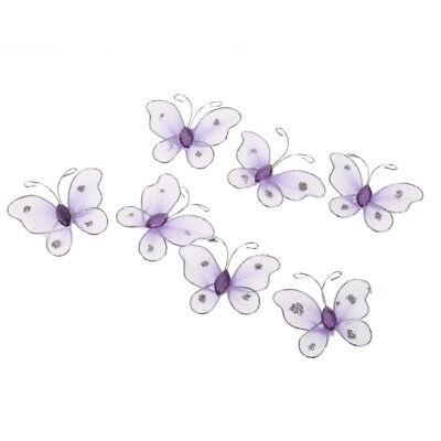 150 Pcs Organza Mesh Glitter butterflies Blue Purple Pink Diy Scrapbooking