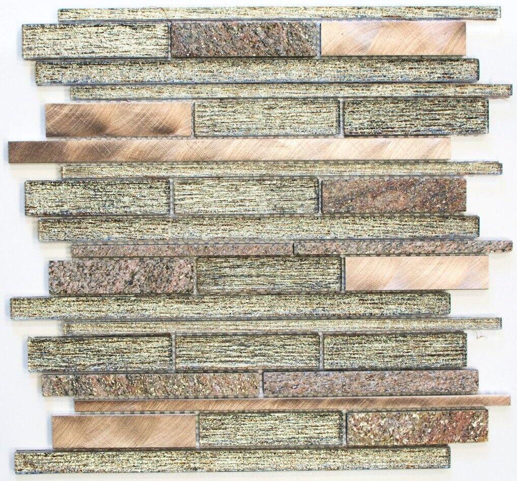 Mosaïque translucide composite alu alu composite verre pierre beige cuivre 49-GV74_b fd15e9