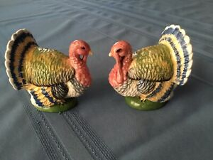Vintage 1930s Turkey china salt and pepper shakers Thanksgiving
