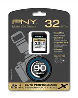 Pny 32g Elite T2 Ultra Hd Dslr Sd Card For Fujifilm X-t2 X-pro1 Hs50exr Dslr