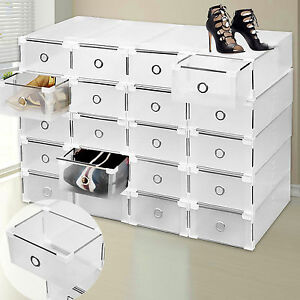 20x bo tes chaussures case armoire de rangement jouet empilable plastique diy ebay. Black Bedroom Furniture Sets. Home Design Ideas