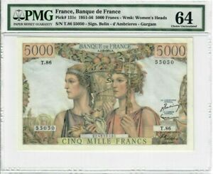 France 5000 Francs Banknote 1952 Pick#131c PMG Choice UNC 64 - Vintage - Large