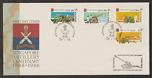 (F132)SINGAPORE 1988 ARTILLERY CENTENARY FDC. CAT RM 14