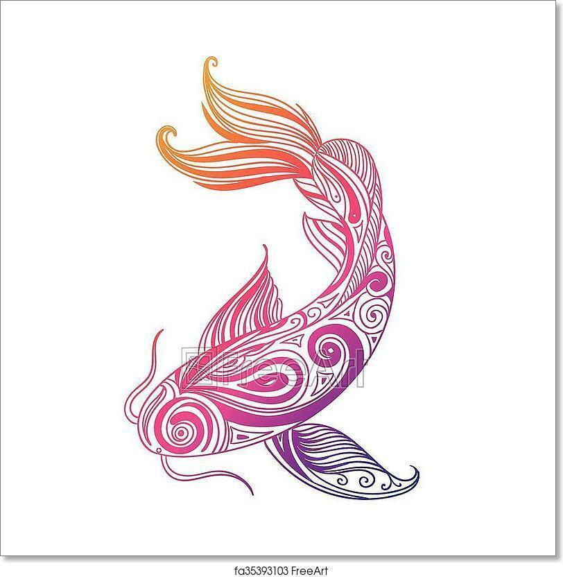 Vector Ornamental Fish Art Print Home Decor Wall Art Poster - H