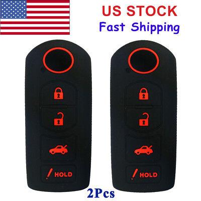 Silicone Smart Key Fob Covers Case Protector Keyless Remote Holder for Mazda CX-5 CX-7 CX-9 Mazda 3 6 MX-5 Miata Toyota Yaris Black