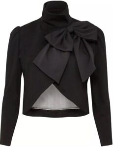 Alice Olivia Addison Bow Crop Jacket Black Blazer Size S