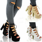 NEW LADIES HIGH HEEL BLOCK PLATFORM LACE UP PEEP TOE ANKLE BOOTS SHOES SIZE OPEN