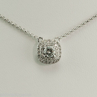 NECKLACE - 0.65 CT. SI1-F DIAMOND BY THE YARD SOLITAIRE PENDANT 14K WHITE GOLD