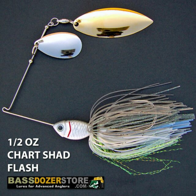Bassdozer spinnerbaits INDIANA WILLOW 1/2 oz A. Chart Shad Flash spinner bait