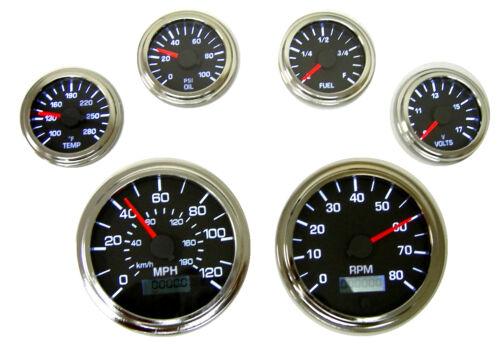 """Tachometer 3-3//8/""""//86mm programmable LED light,black//chrome,001-TA4-BC 4K RPM"""